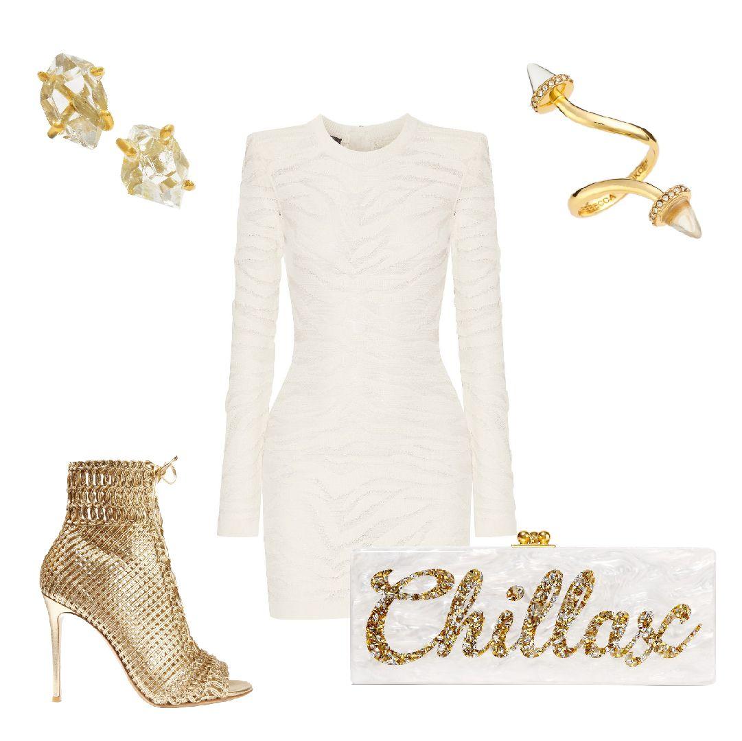 Knitted wedding dress  Celebrate your bachelorette in Balmainus white knitted mini dress