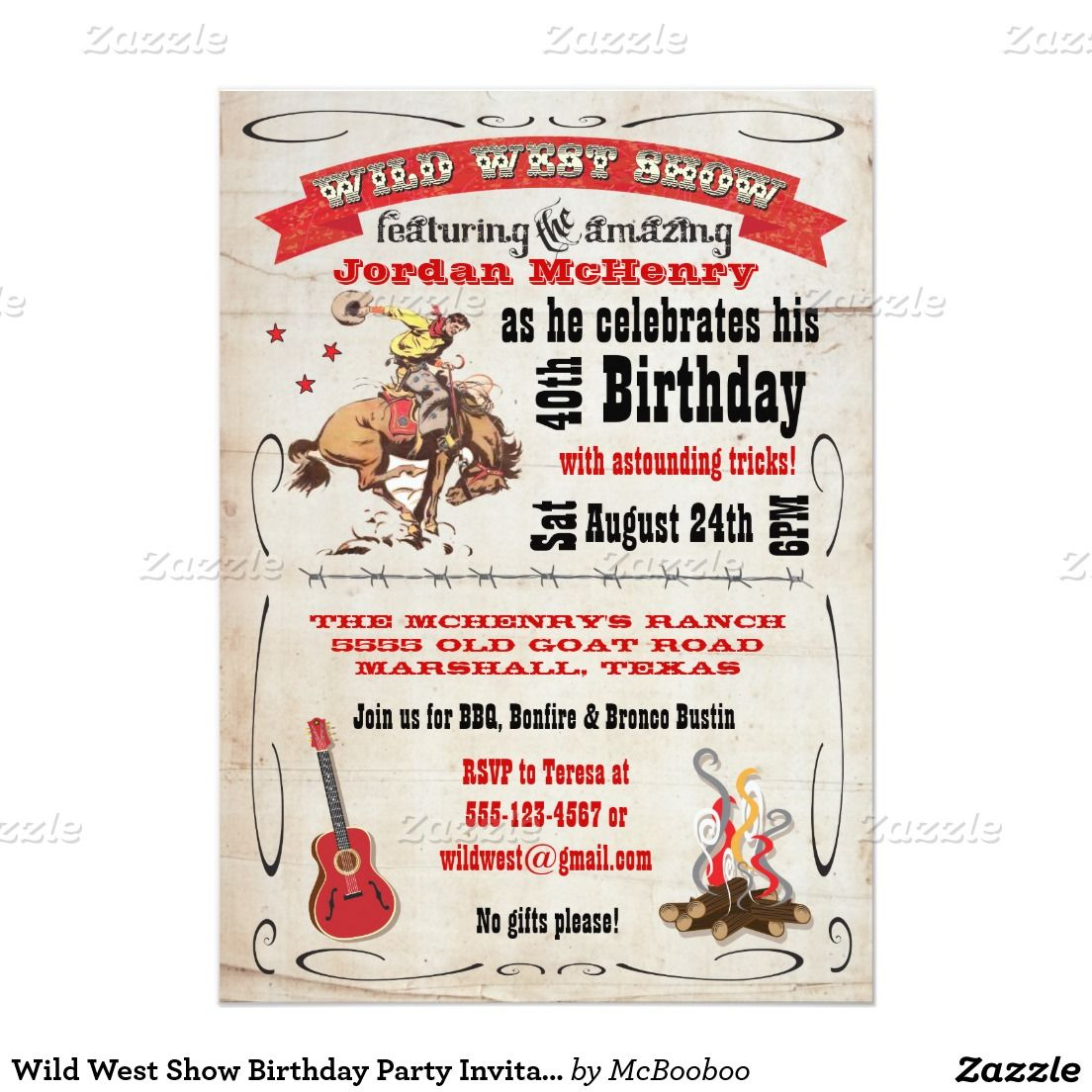 Wild West Show Birthday Party Invitation Poster | Wild west, Party ...