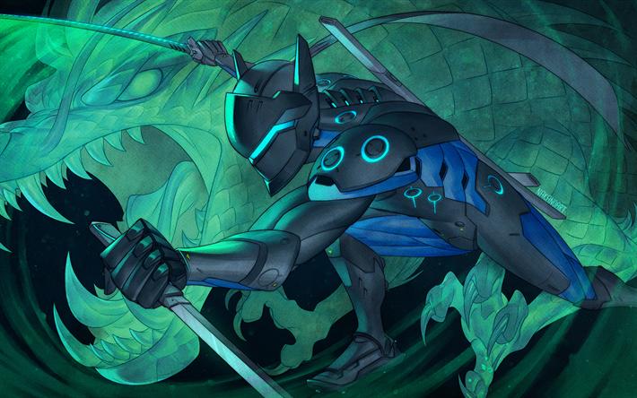 Download wallpapers Genji, artwork, cyber warriors