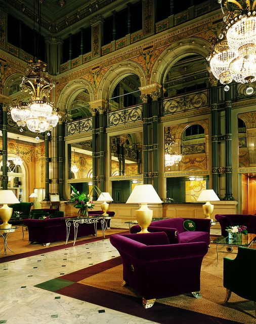 The Lighting Plays Up Plush Lobby Of Hotel Concorde Opera Paris France In