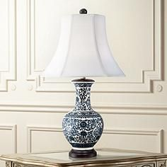 Windom Long Neck Blue And White Ceramic Table Lamp Traditional Table Lamps Blue And White Lamp White Table Lamp