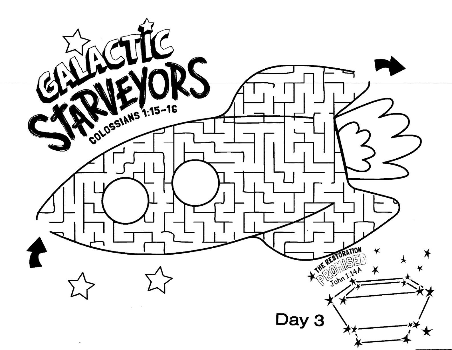 Galactic Starveyors Coloring Sheet VBS 2017- Day 3
