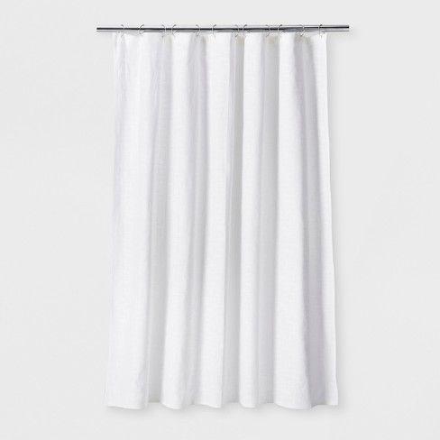 Woven Shower Curtain White Threshold White Shower Curtain