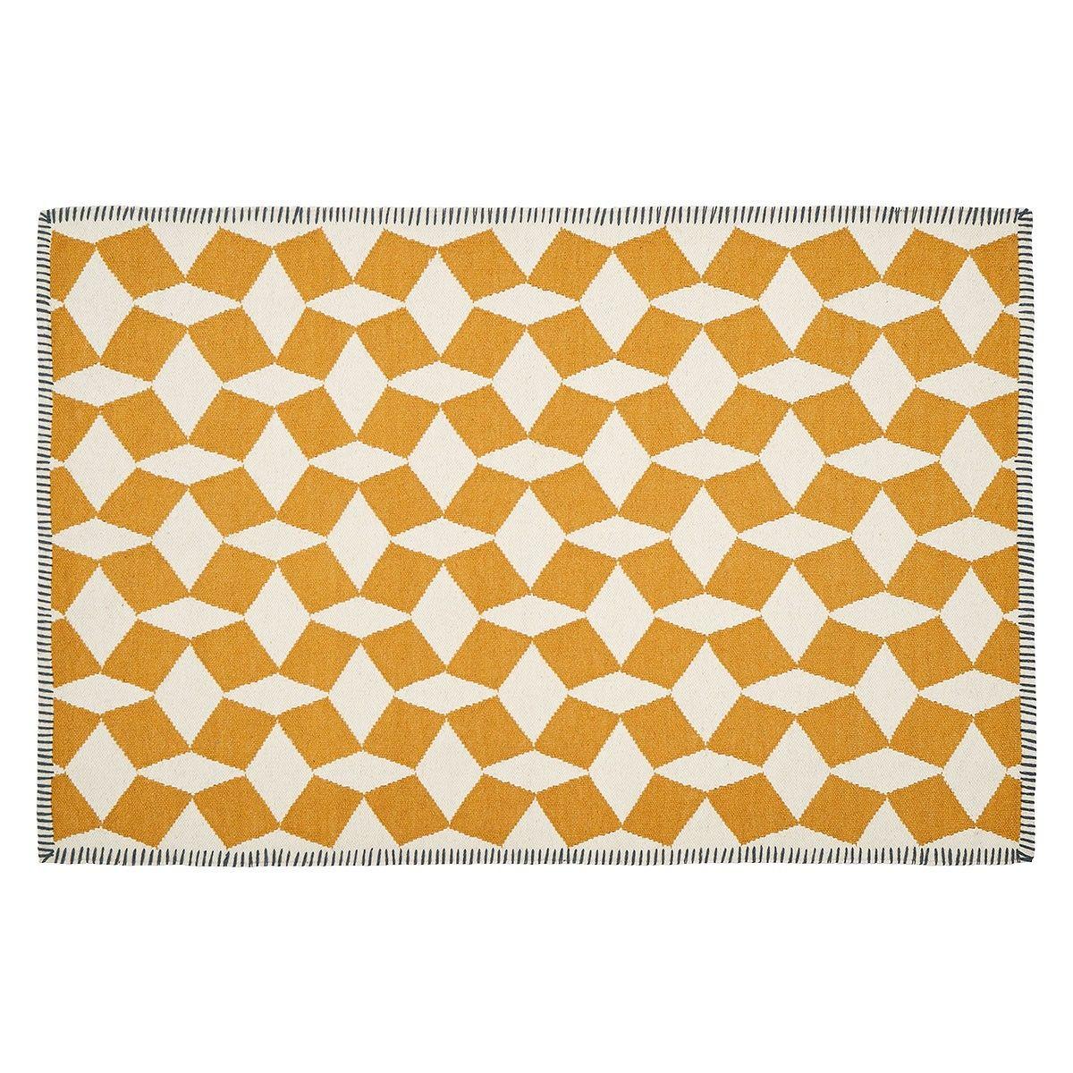 Tiles Large Mustard Flat Weave Wool Rug 120 X 180cm Wool Rug Weaving Rugs