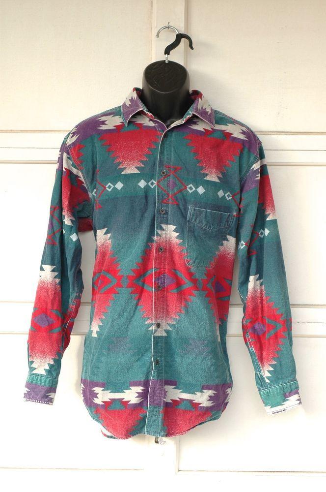 26c115ae Vtg Woolrich Southwestern Navajo Indian Blanket Print Cotton Flannel Shirt  L #Woolrich #ButtonFront