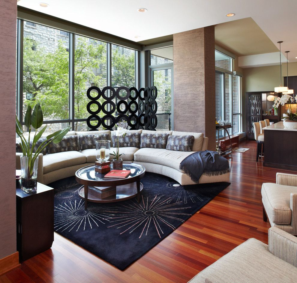 Brazilian Walnut Flooring Living Room Contemporary with Accent ...