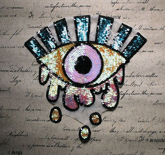 24f73db466943 EYE Sequined Applique Patch,Paillette Patch,Sequins Eye Patch ...