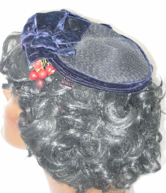 62570fefbdc Clearance Hattie Carnegie 1950 s Vintage Blue Hat with Berries ...