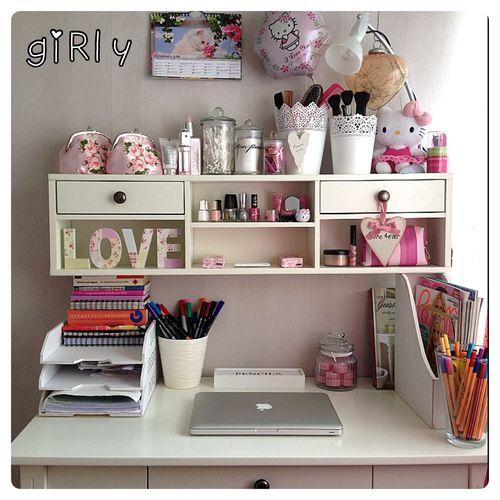 Girly Desks organised desk shelf apple mac laptop pink love dream bedroom