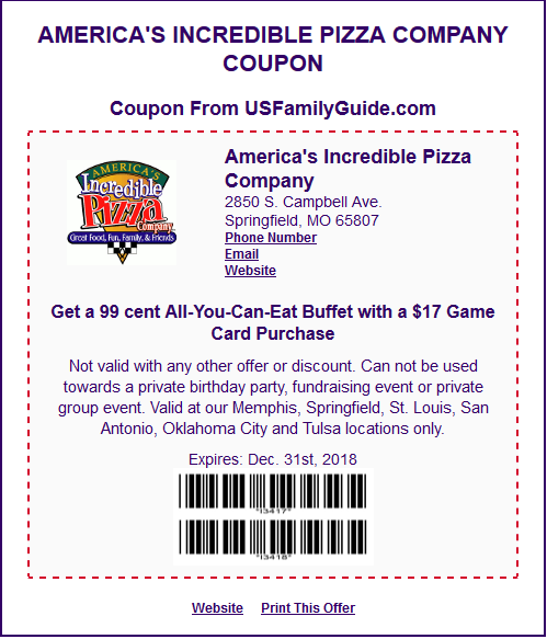 graphic about John Incredible Pizza Printable Coupons identify Uncover Relatives Enjoyment with Promotions at Unbelievable Pizza Parenting