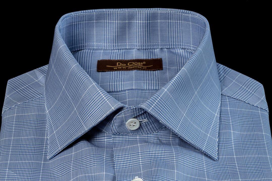 Maat Overhemd Heren.Overhemd Op Maat Heren Bespoke Poplin Thomas Mason Blauw Wit