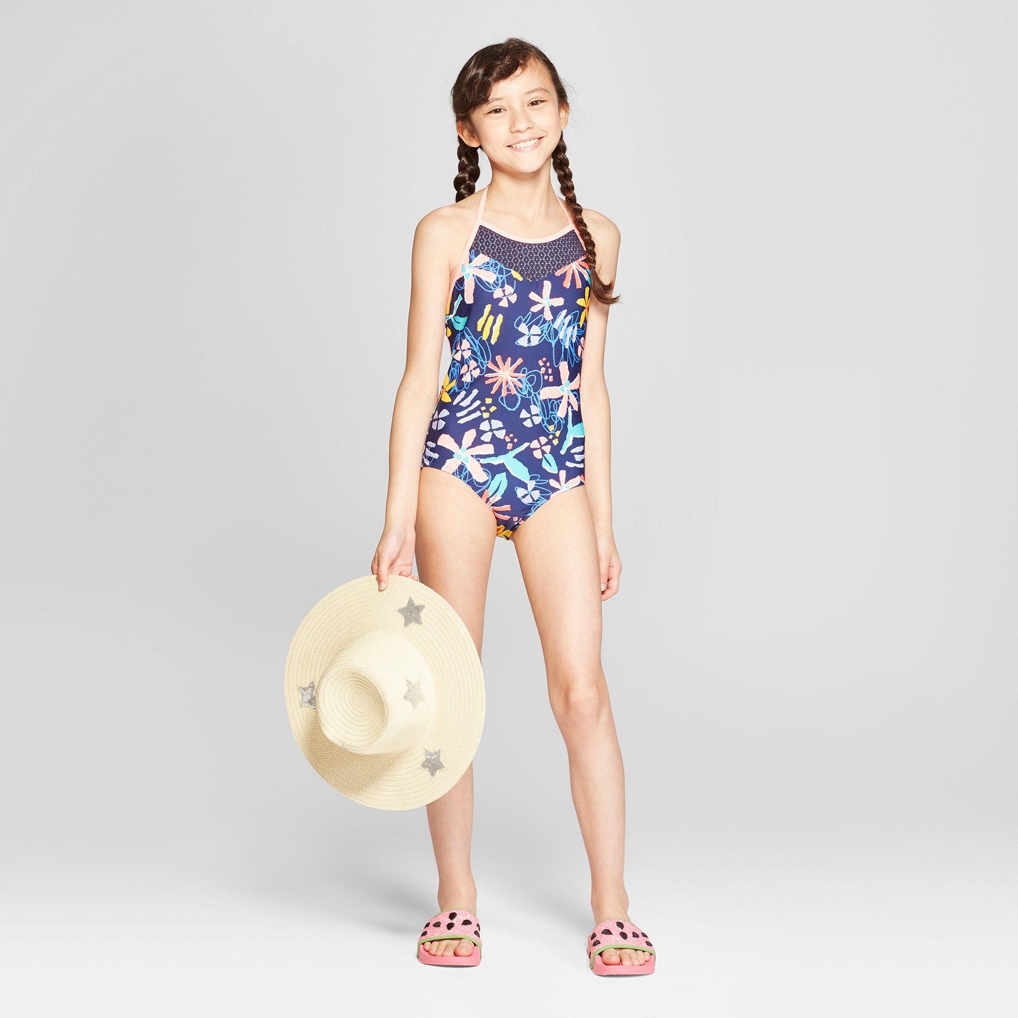 5042213878 Plus Size Girls' Loves Me Knot One Piece Swimsuit - Cat & Jack Navy Xxl  Plus, Blue