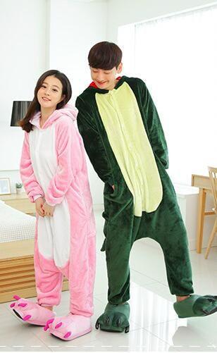 00a00a4547 Cute Cartoon Adult Unicorn Pajamas Set Men and Womens Panda Bear Onesie  Sleepsuit Cosplay Girls Animal Sleepwear Coral Flannel