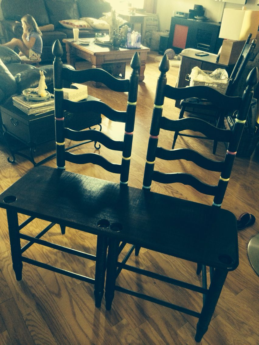 Ladder back chair bench. Ladder back chairs with dark cherry board as seat