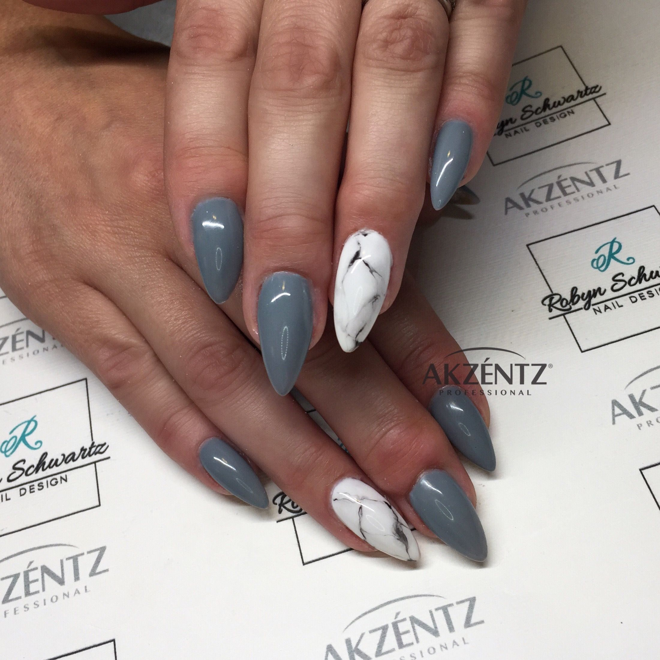 Grey and marble almond gel nails | Nägel | Pinterest | Almond gel nails