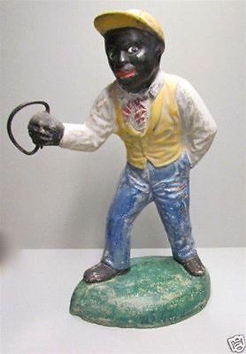 Vintage Black Americana Cement Lawn Jockey