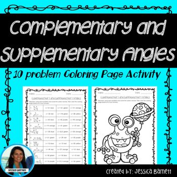 Complementary and Supplementary Angles Coloring Page