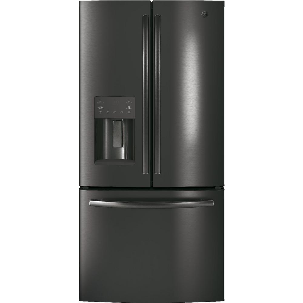 Ge 23 7 Cu Ft French Door Refrigerator In Black Stainless Steel Fingerprint Resistant And Energy Star Gfe24jblts French Door Refrigerator French Doors Stainless Steel Counters
