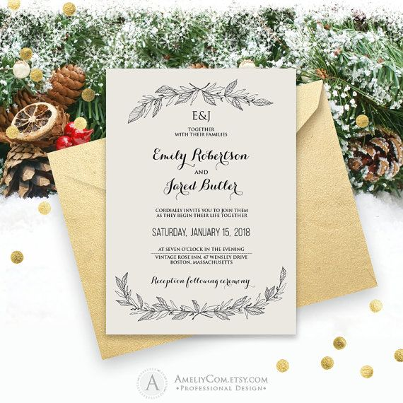 Rustic Wedding Invitation Printable Winter Monogram By Amel Snowflake Wedding Invitation Winter Wedding Invitations Snowflake Diy Printable Wedding Invitations