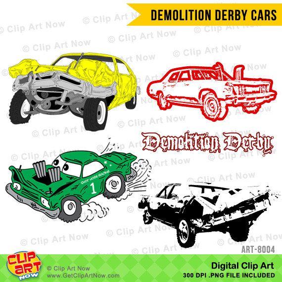 Demolition Derby Cars Digital Clip Art By Clipartnow This Digital