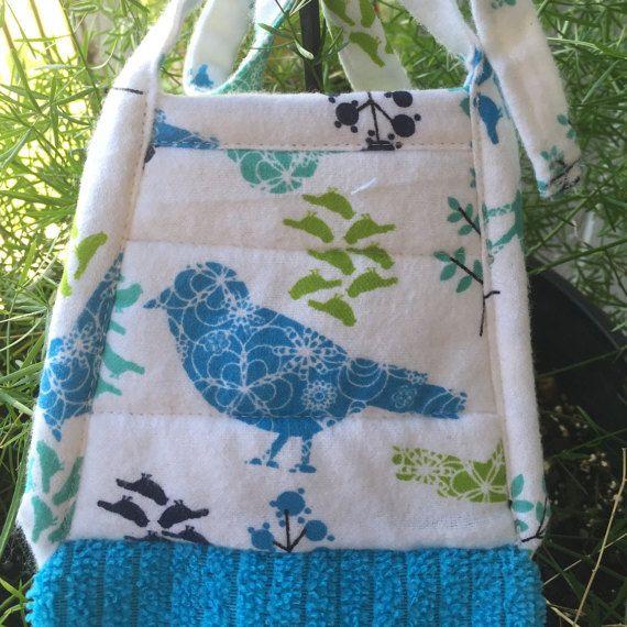 Blue Bird Hanging Kitchen Towel With Ties Bird By Thestuffedcat