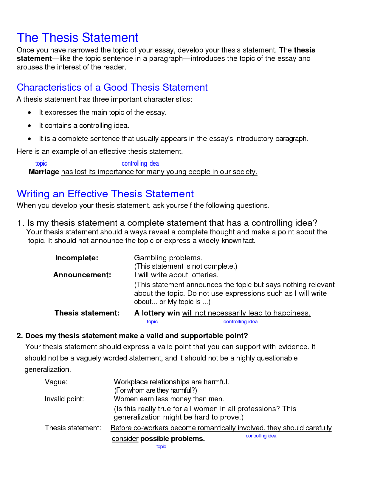 Blackline masters for writing thesis statements
