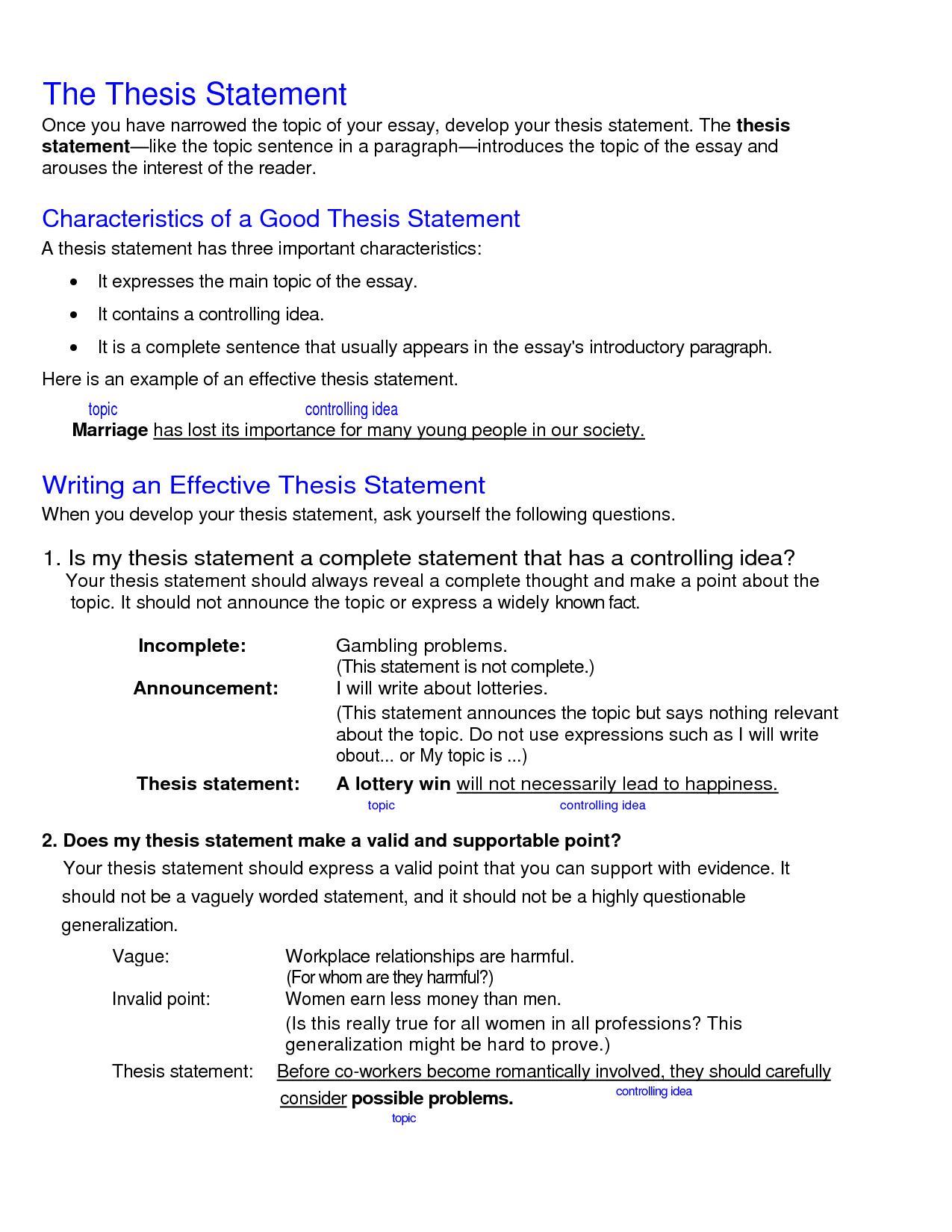 Thesis Statement Formula Worksheet