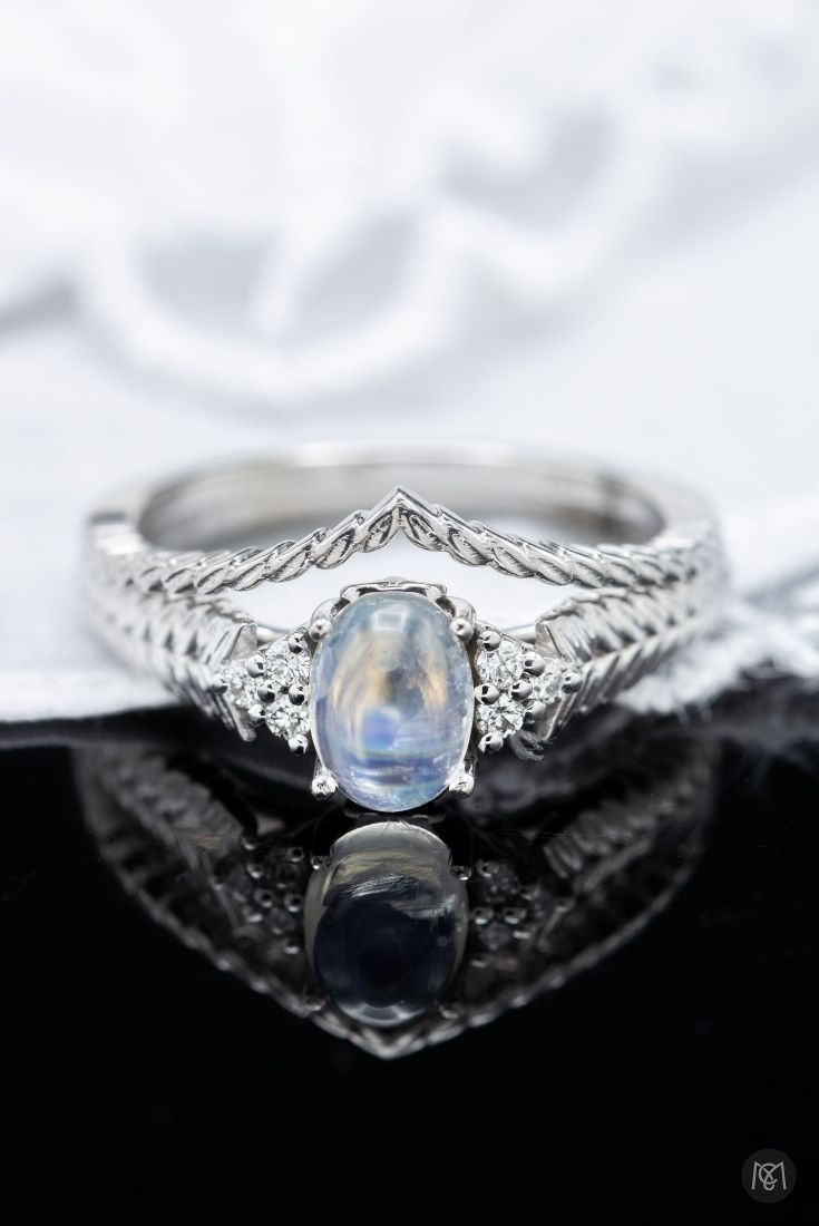 Hereus a beautiful moonstone engagement ring with matching wedding