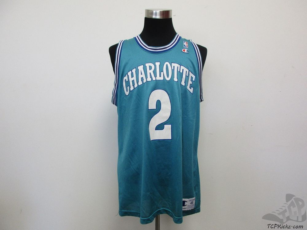 Vtg 90s Champion Charlotte Hornets Larry Johnson  2 Jersey sz 48 Grandmama  NBA  Champion 5d985bee9
