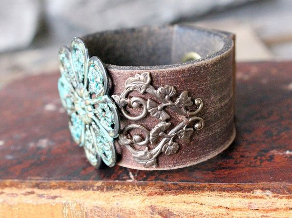 Upcycled Leather Cuff Forgotten Garden by EverDesignsJewelry