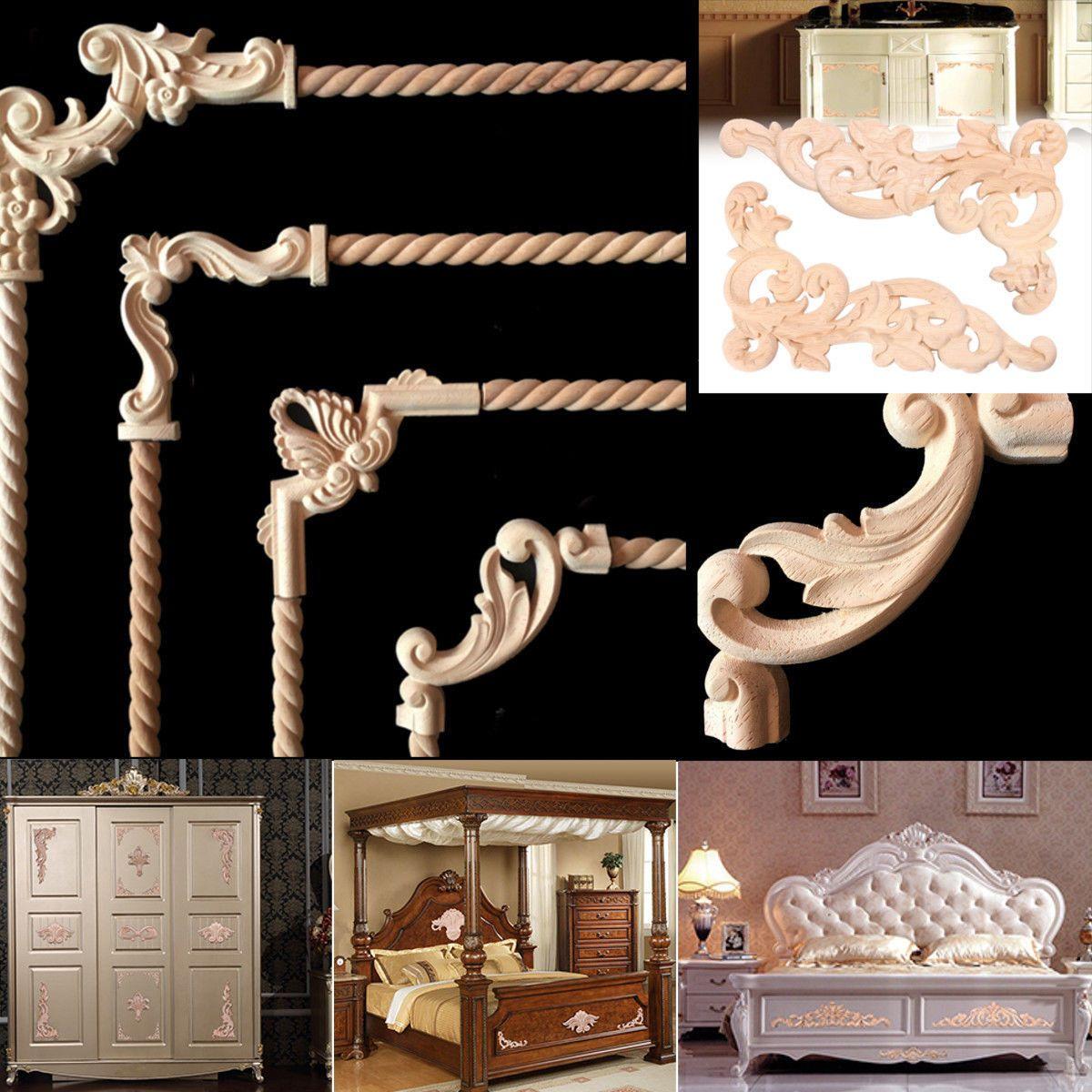 Corner Onlay Applique Furniture Home Door Decor Unfinished Handmade Wood Carved