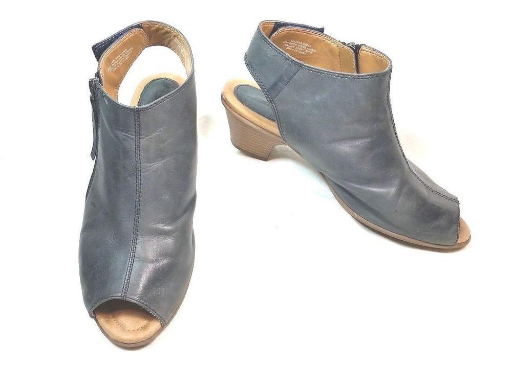 5797e0ac030 Earth Kristy Wide Admiral Blue Peep Toe Open Heel Side Zip Shoe Womens Size  9.5D  Earth  OpenToe  Casual