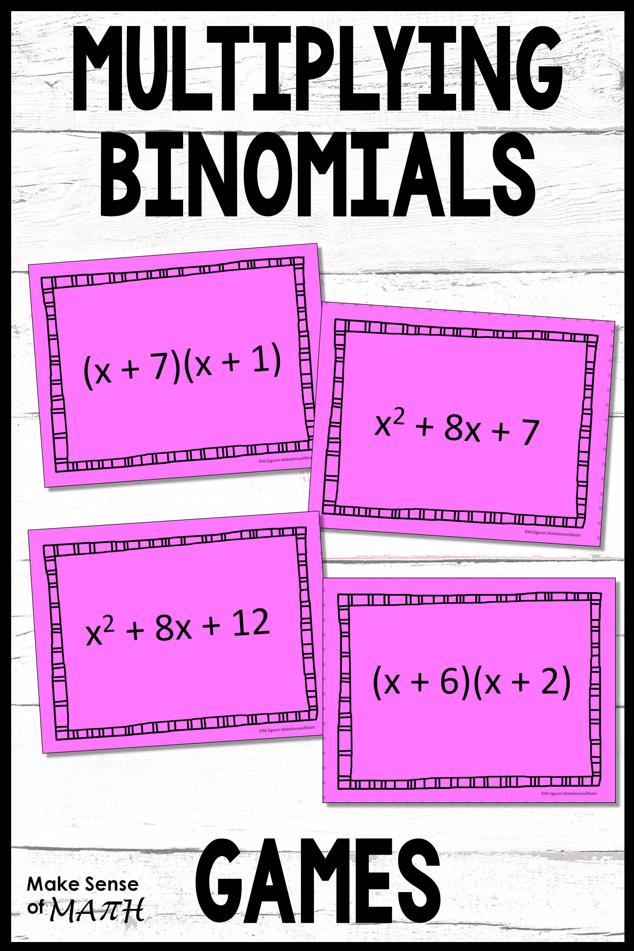 Multiplying Binomials Activities And Games Maths Activities Middle School Math Games Middle School Middle School Math