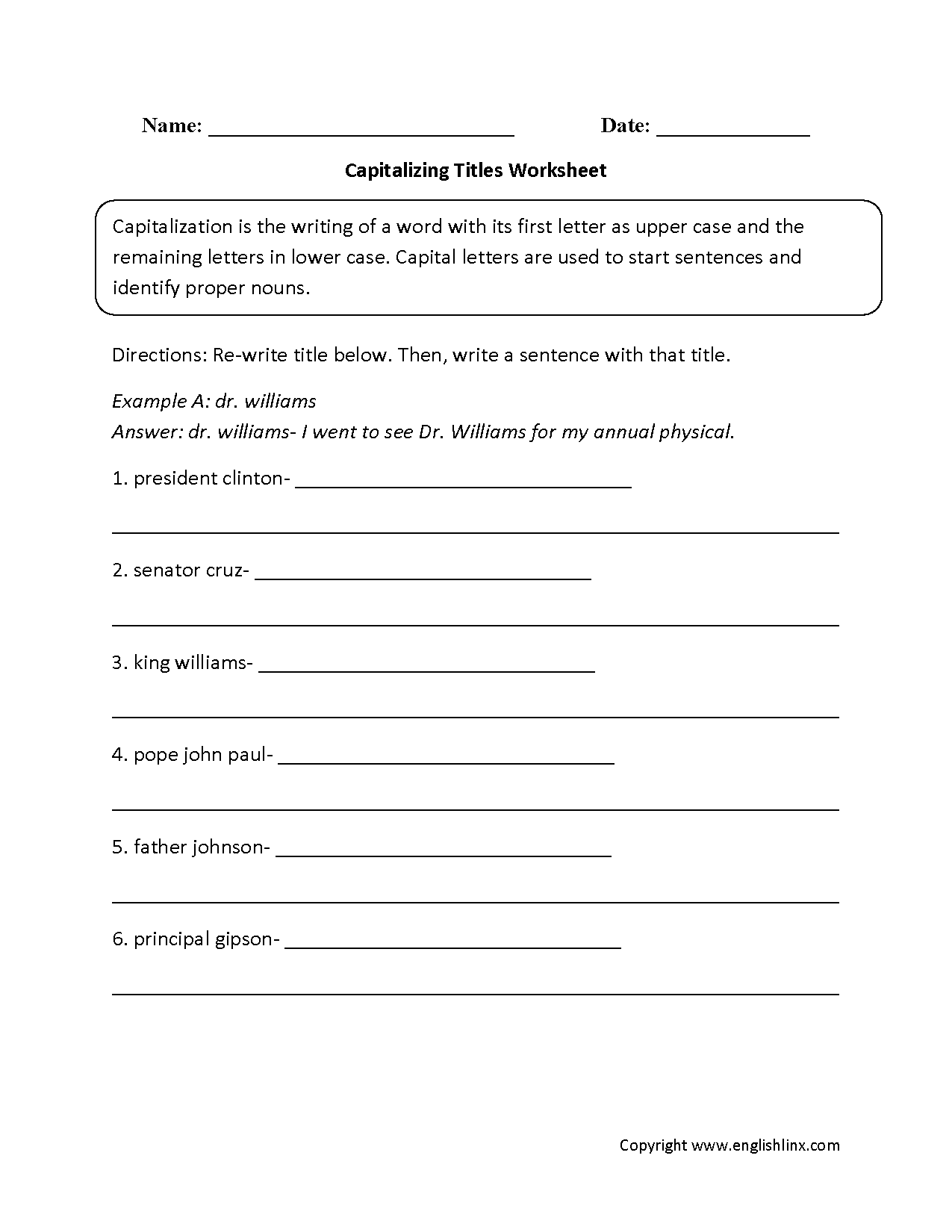 Capitalizing Titles Worksheet   Capitalization worksheets [ 1650 x 1275 Pixel ]
