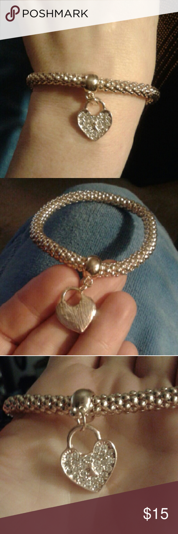 """Gold Mesh Semi Stretch Crystal Heart Bracelet Adorable & Unique, New...Mesh, Semi-Stretch,, Gold, Heart Bracelet w/Crystals on One Side & Polished/Brushed Surface on The Other Side, Will Fit 6""""-7"""" Wrists. Trending Jewelry Jewelry Bracelets"""