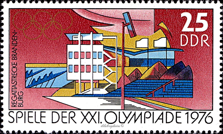 German Democratic Republic 21st Olympic Games Montreal Canada July 17 Aug 5 1976 Regatta Course Brandenburg Scott 1724 A529 Ddr Spiele Briefmarken