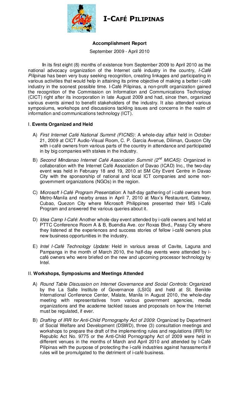 ICAFÉ PILIPINAS Report September 2009