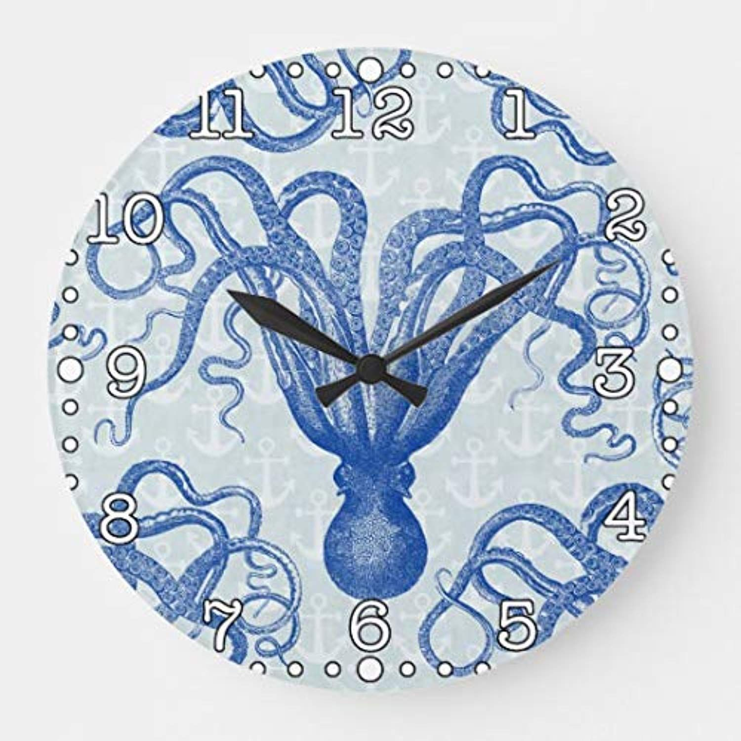 Nautical Octupus Funny Silent Wall Clock For Women Christms Wood Clock Battery Operated Non Ticking For Living Room Kitchen Bathro Clock Wall Clock Wood Clocks