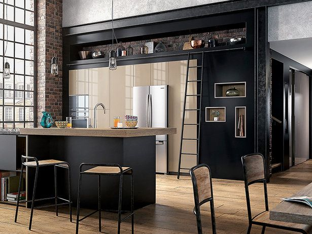 cuisine quip e mobalpa m lia noir mat et gr ge brillant id es cuisine pinterest mobalpa. Black Bedroom Furniture Sets. Home Design Ideas