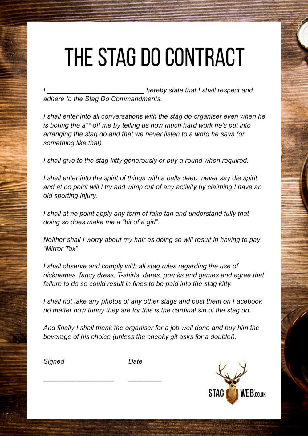 StagWeb stag do contract | Stag in 2019 | Bachelor party