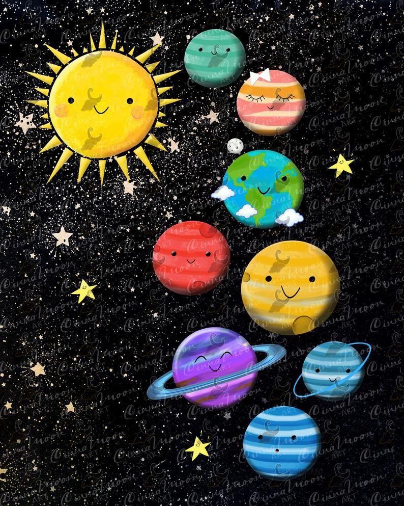 Planets Planets Print Solar System Universe Solar System Print Educational Mercury Venus Earth Mars Jupiter Saturn Neptune Nursery Art Planet Drawing Space Themed Nursery Solar System Print