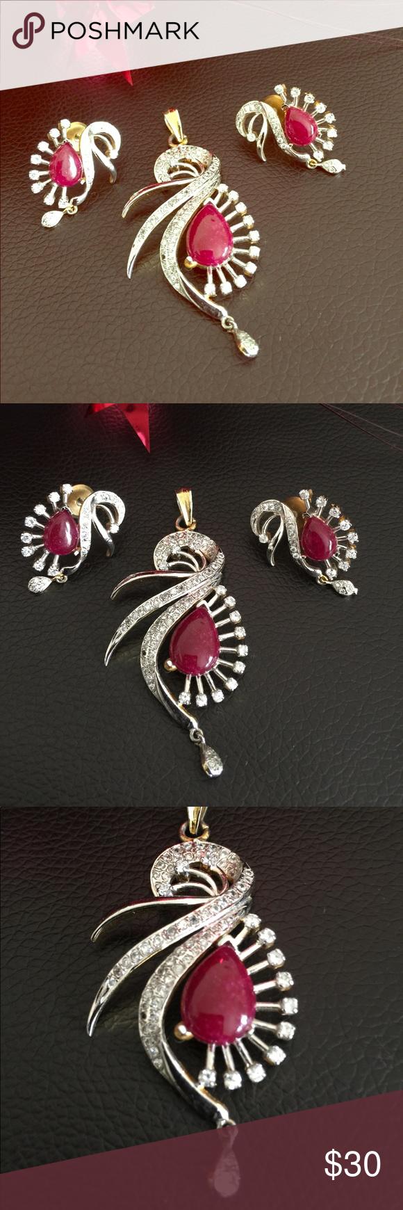 Pendant set with earrings zircona with ruby pendant set stone
