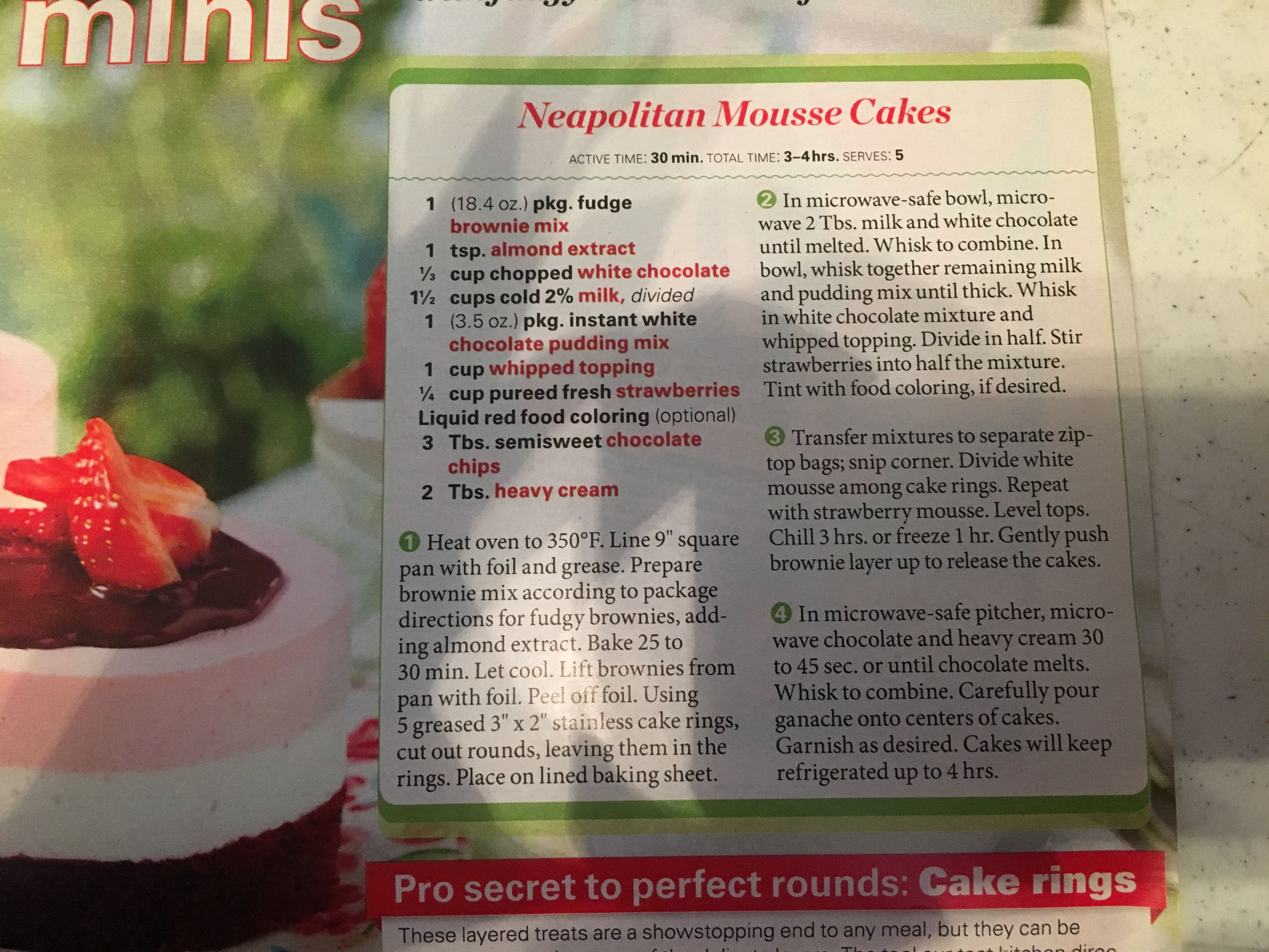 Neopolita Mousse Cakes No Cook Desserts Mousse Cake Brownie Mix