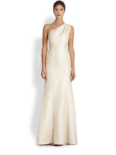 Ml Monique Lhuillier Jacquard One Shoulder Gown Sakscom