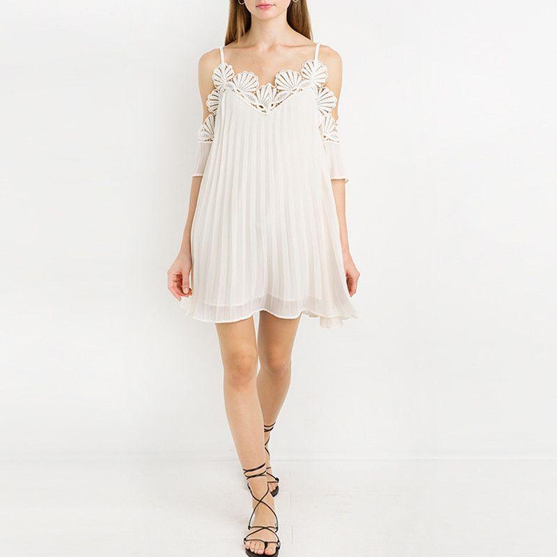 Solid Beige Loose Chiffon Lace Trim Shift Dress LAVELIQ