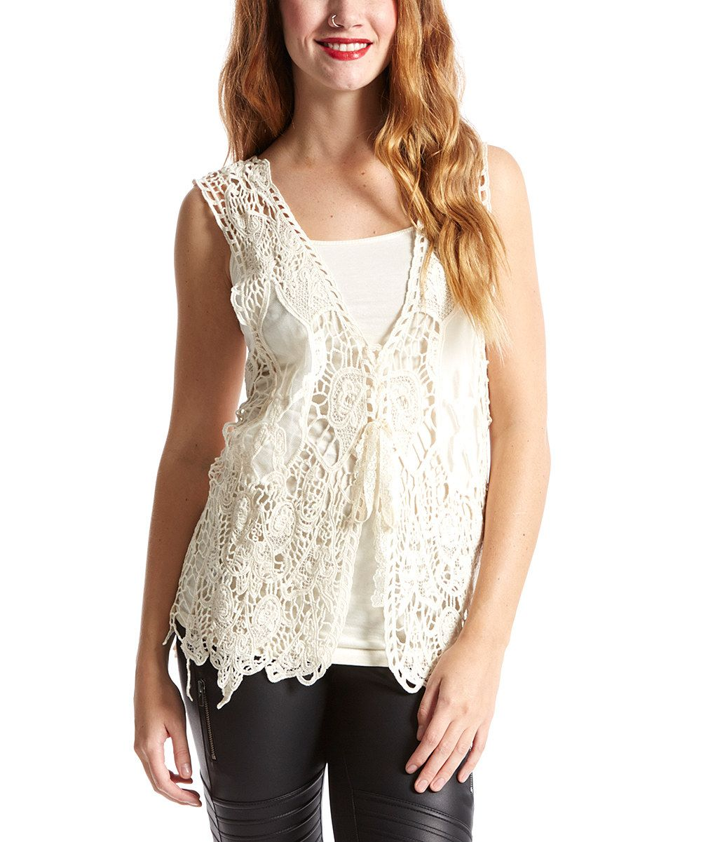 Look at this Caramel Crochet Linen-Blend Vest on #zulily today!