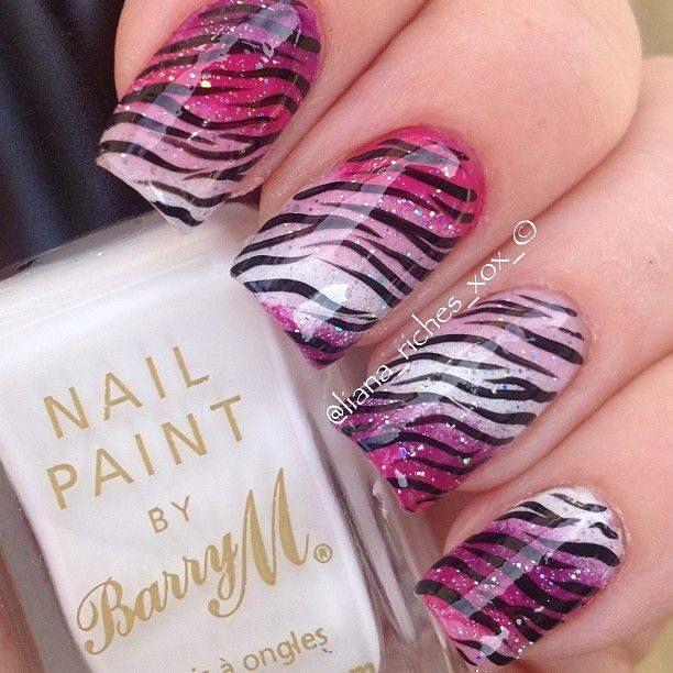 Nail Art Zebra Stripes: Zebra Print , Pink , White , Cherry Red