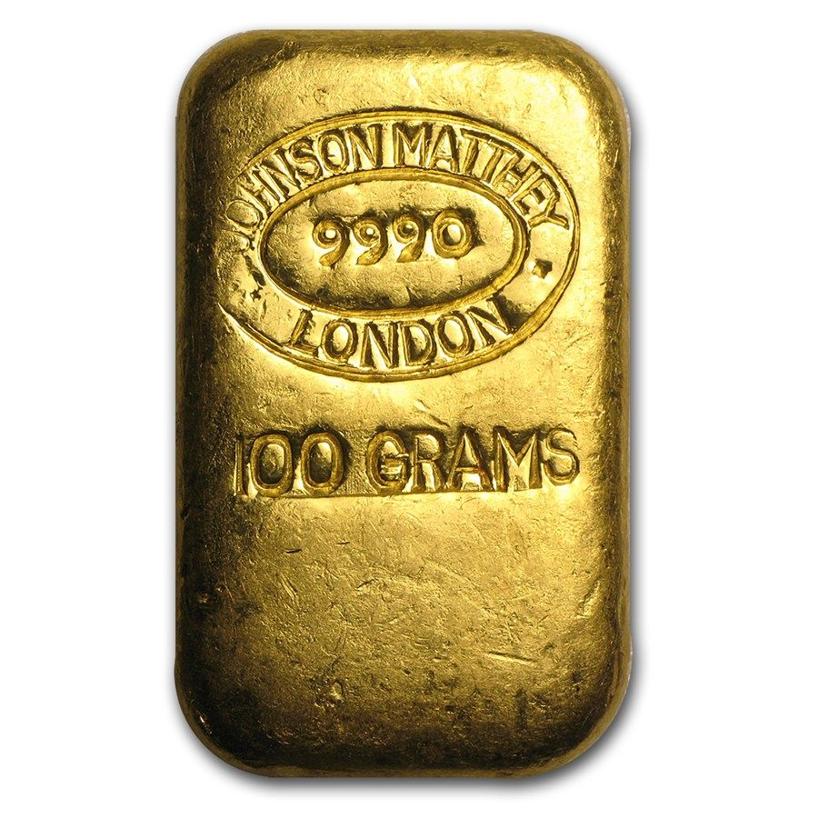 100 Gram Gold Bar Johnson Matthey London Cast Poured Gold Bullion Bars Gold Bullion Gold Bar