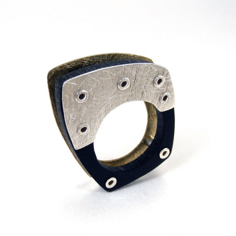 Sterling Silver, Bronze and Black Resin Riveted Ring - Congruous by mkwind on Etsy https://www.etsy.com/listing/100223087/sterling-silver-bronze-and-black-resin