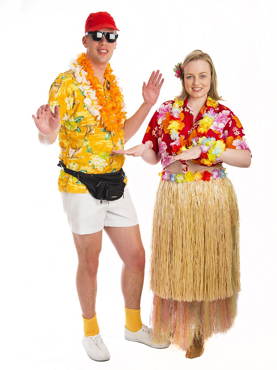 2d36ce8ae7 Tropical Cruise Couple costumes for hire. Great for a Hawaiian Luau or  International party theme. Costumes are priced individually